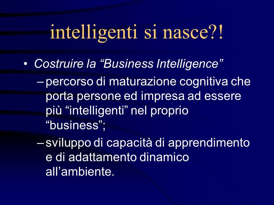 intelligenti si nasce?! Costruire la Business Intelligence –percorso di maturazione cognitiva che porta persone ed impresa ad essere più intelligenti