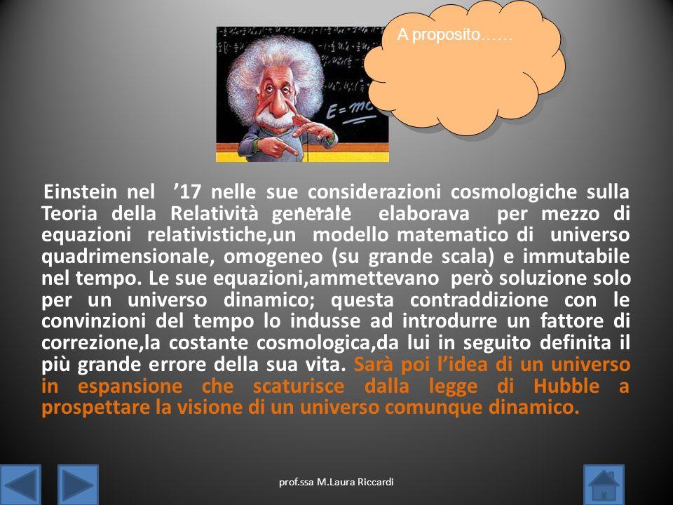 Einstein nel 17 nelle sue considerazioni cosmologiche sulla Teoria della Relatività generale elaborava per mezzo di equazioni relativistiche,un modell