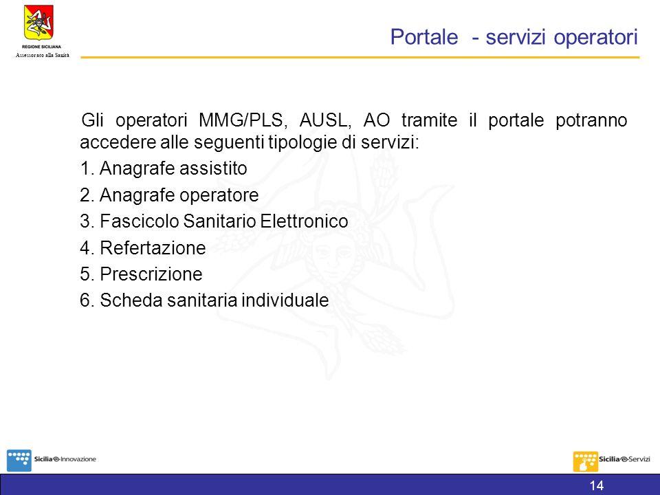 Assessorato alla Sanità Portale - servizi operatori Gli operatori MMG/PLS, AUSL, AO tramite il portale potranno accedere alle seguenti tipologie di servizi: 1.