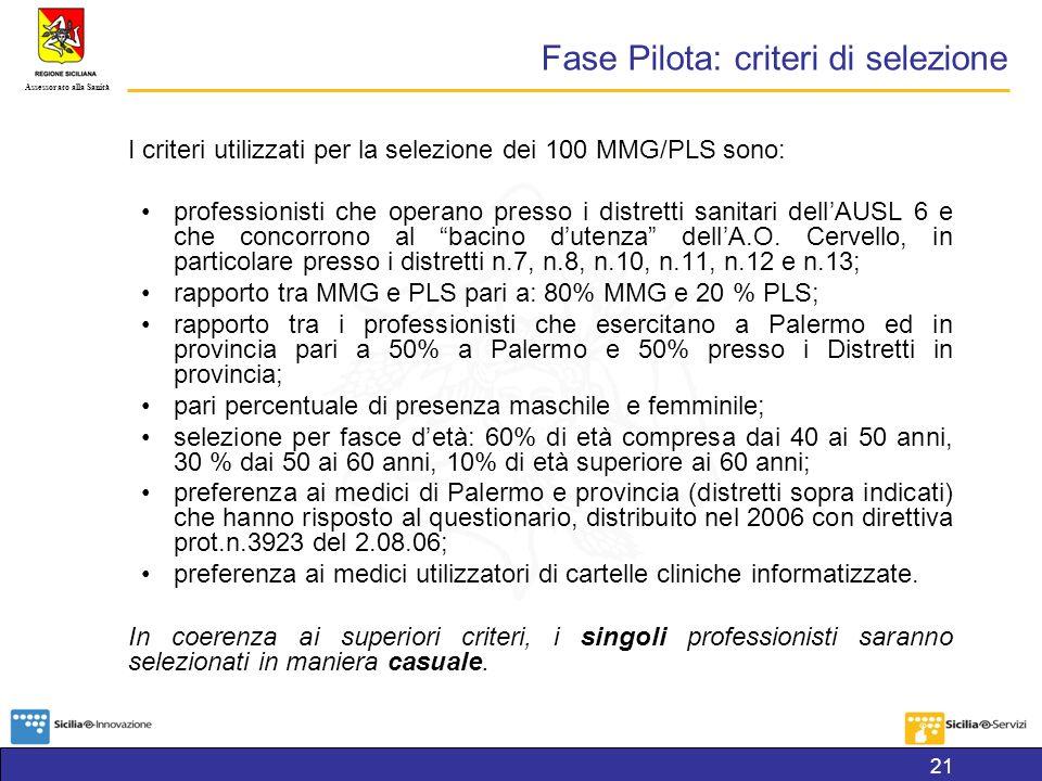 Assessorato alla Sanità Fase Pilota: criteri di selezione I criteri utilizzati per la selezione dei 100 MMG/PLS sono: professionisti che operano presso i distretti sanitari dellAUSL 6 e che concorrono al bacino dutenza dellA.O.