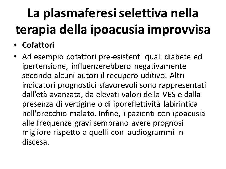 La plasmaferesi selettiva nella terapia della ipoacusia improvvisa Efficacia della terapia La valutazione delleffetto della terapia nella SI costituis