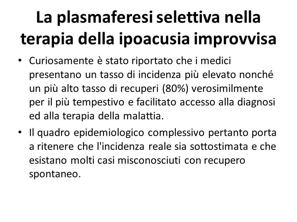 La plasmaferesi selettiva nella terapia della ipoacusia improvvisa Incidenza Essa comporta inoltre importanti questioni socioassistenziali. La SI cost