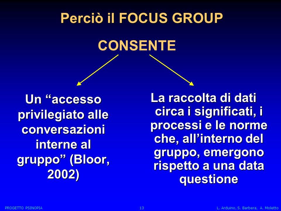 Perciò il FOCUS GROUP Un accesso privilegiato alle conversazioni interne al gruppo (Bloor, 2002) La raccolta di dati circa i significati, i processi e le norme che, allinterno del gruppo, emergono rispetto a una data questione CONSENTE PROGETTO PSINOPIA 13 L.