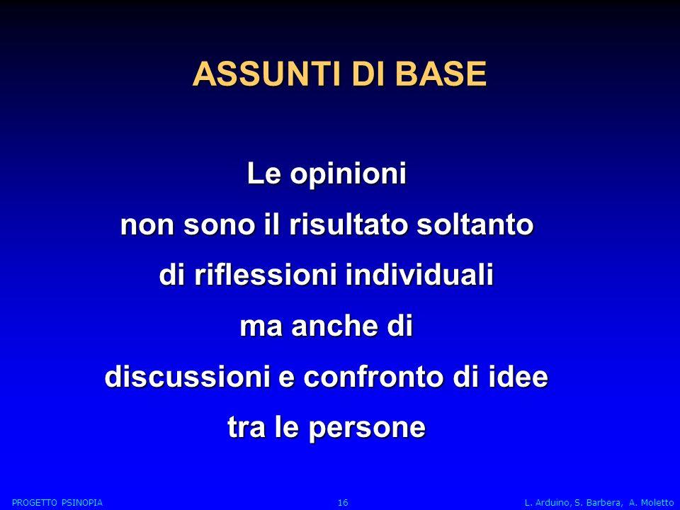 ASSUNTI DI BASE Le opinioni non sono il risultato soltanto di riflessioni individuali ma anche di discussioni e confronto di idee tra le persone PROGETTO PSINOPIA 16 L.