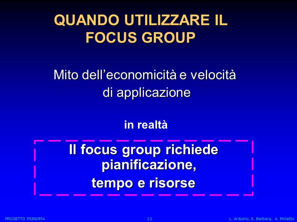 Mito delleconomicità e velocità di applicazione di applicazione Il focus group richiede pianificazione, tempo e risorse QUANDO UTILIZZARE IL FOCUS GROUP PROGETTO PSINOPIA 21 L.