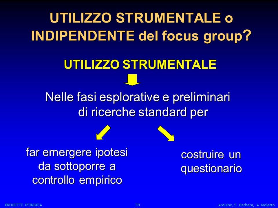 UTILIZZO STRUMENTALE o INDIPENDENTE del focus group .