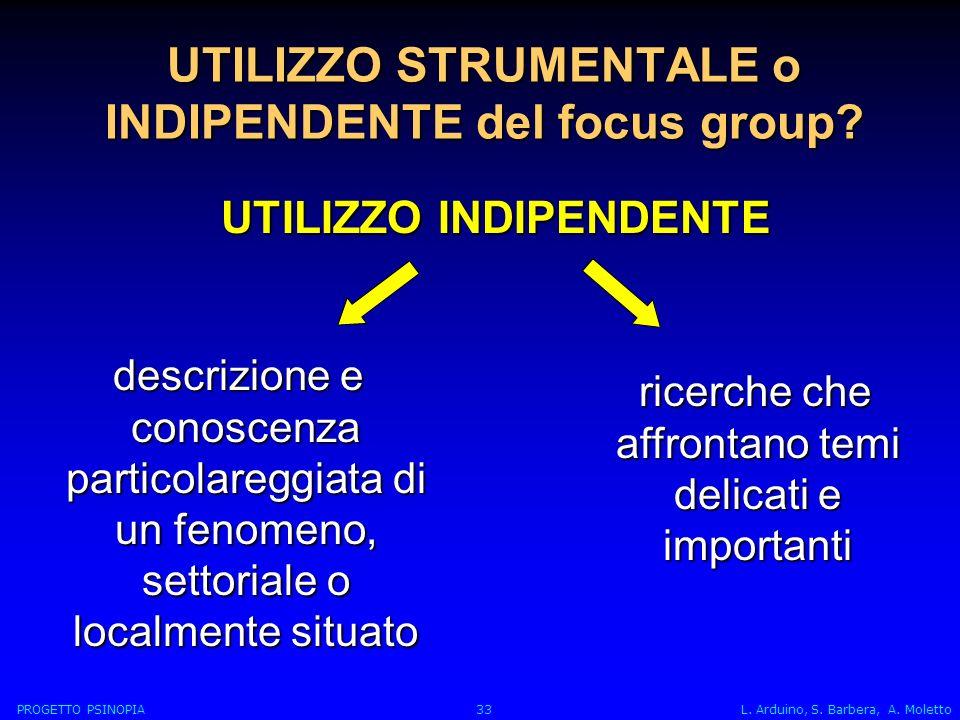 UTILIZZO STRUMENTALE o INDIPENDENTE del focus group.