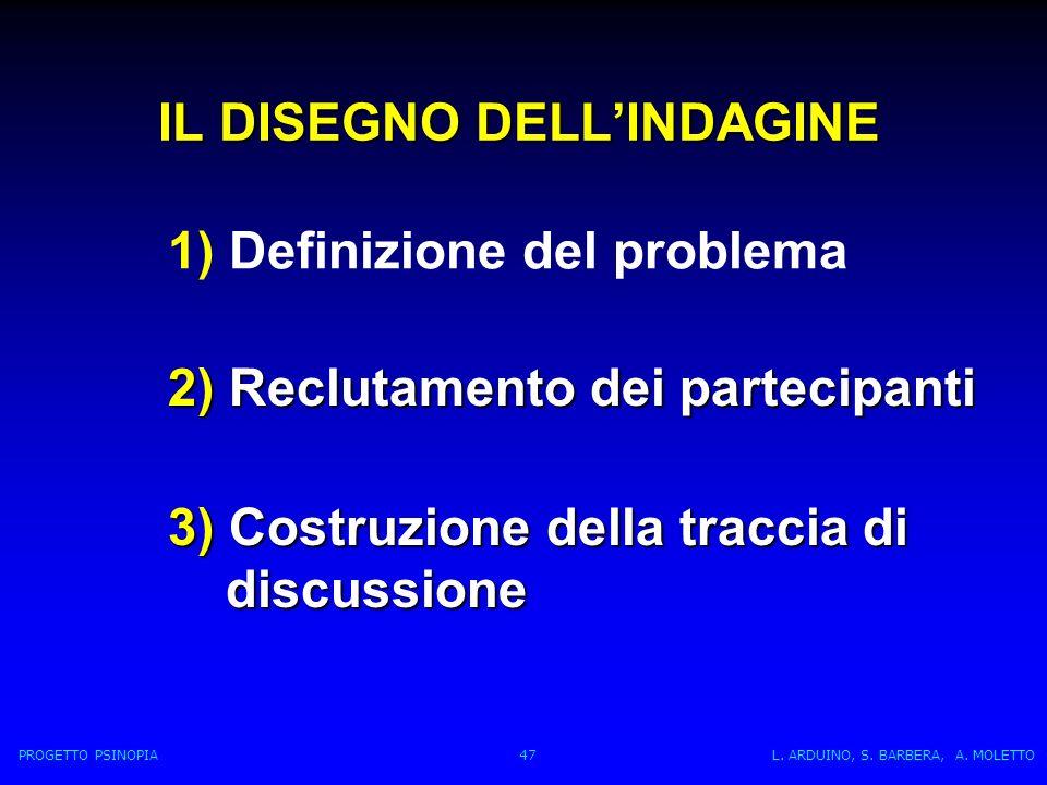 IL DISEGNO DELLINDAGINE 1) Definizione del problema 2) Reclutamento dei partecipanti 3) Costruzione della traccia di discussione discussione PROGETTO PSINOPIA 47 L.