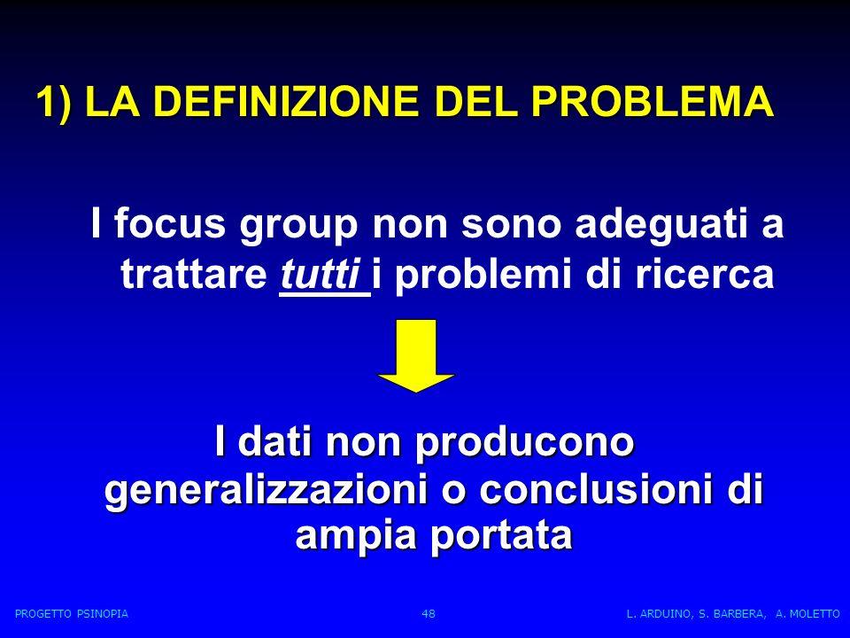 1) LA DEFINIZIONE DEL PROBLEMA I focus group non sono adeguati a trattare tutti i problemi di ricerca I dati non producono generalizzazioni o conclusioni di ampia portata I dati non producono generalizzazioni o conclusioni di ampia portata PROGETTO PSINOPIA 48 L.