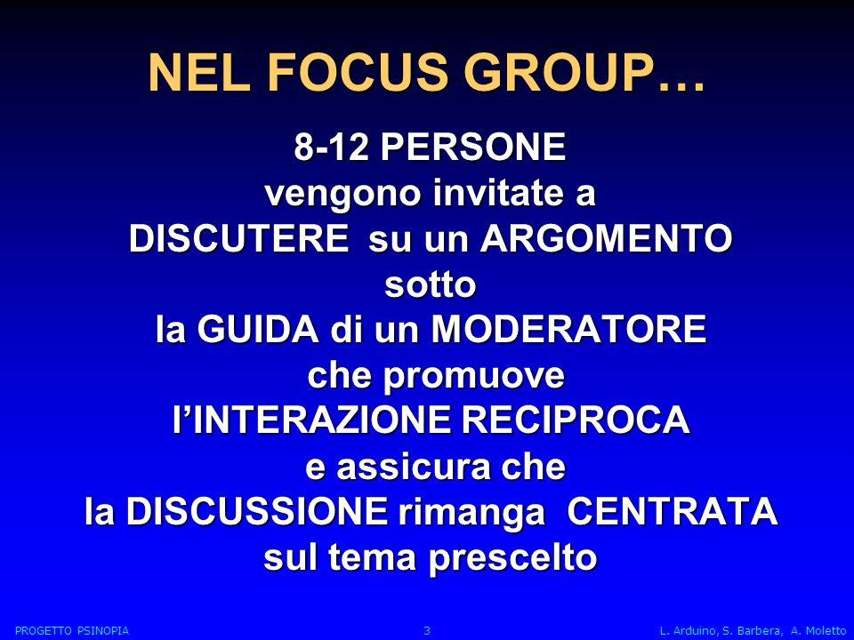 NEL FOCUS GROUP… 8-12 PERSONE vengono invitate a DISCUTERE su un ARGOMENTO sotto la GUIDA di un MODERATORE che promuove che promuove lINTERAZIONE RECIPROCA e assicura che e assicura che la DISCUSSIONE rimanga CENTRATA sul tema prescelto PROGETTO PSINOPIA 3 L.