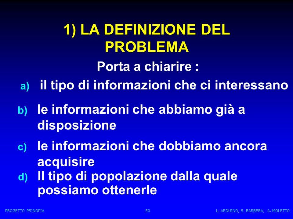 1) LA DEFINIZIONE DEL PROBLEMA d) Il tipo di popolazione dalla quale possiamo ottenerle Porta a chiarire : a) il tipo di informazioni che ci interessano b) le informazioni che abbiamo già a disposizione c) le informazioni che dobbiamo ancora acquisire PROGETTO PSINOPIA 50 L.
