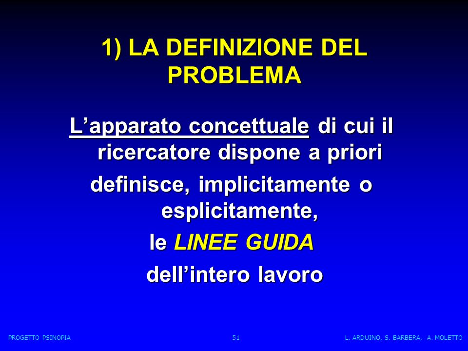 1) LA DEFINIZIONE DEL PROBLEMA Lapparato concettuale di cui il ricercatore dispone a priori definisce, implicitamente o esplicitamente, le LINEE GUIDA dellintero lavoro dellintero lavoro PROGETTO PSINOPIA 51 L.