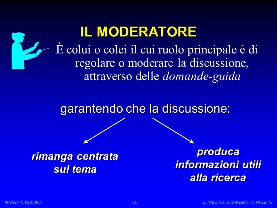 È colui o colei il cui ruolo principale è di regolare o moderare la discussione, attraverso delle domande-guida IL MODERATORE garantendo che la discussione: produca informazioni utili alla ricerca PROGETTO PSINOPIA 61 L.