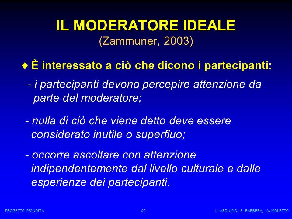 IL MODERATORE IDEALE (Zammuner, 2003) È interessato a ciò che dicono i partecipanti: - i partecipanti devono percepire attenzione da parte del moderatore; - nulla di ciò che viene detto deve essere considerato inutile o superfluo; - occorre ascoltare con attenzione indipendentemente dal livello culturale e dalle esperienze dei partecipanti.