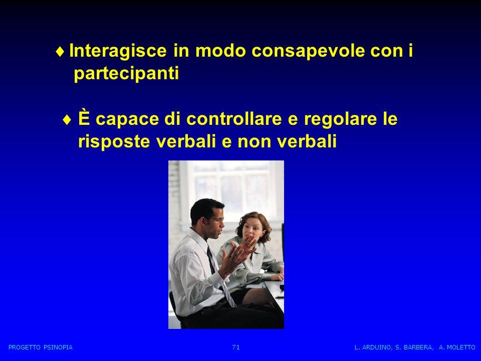 È capace di controllare e regolare le risposte verbali e non verbali Interagisce in modo consapevole con i partecipanti PROGETTO PSINOPIA 71 L.