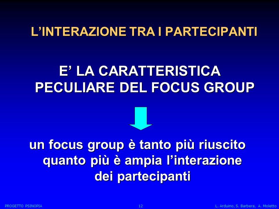 LINTERAZIONE TRA I PARTECIPANTI E LA CARATTERISTICA PECULIARE DEL FOCUS GROUP un focus group è tanto più riuscito quanto più è ampia linterazione dei partecipanti PROGETTO PSINOPIA 12 L.