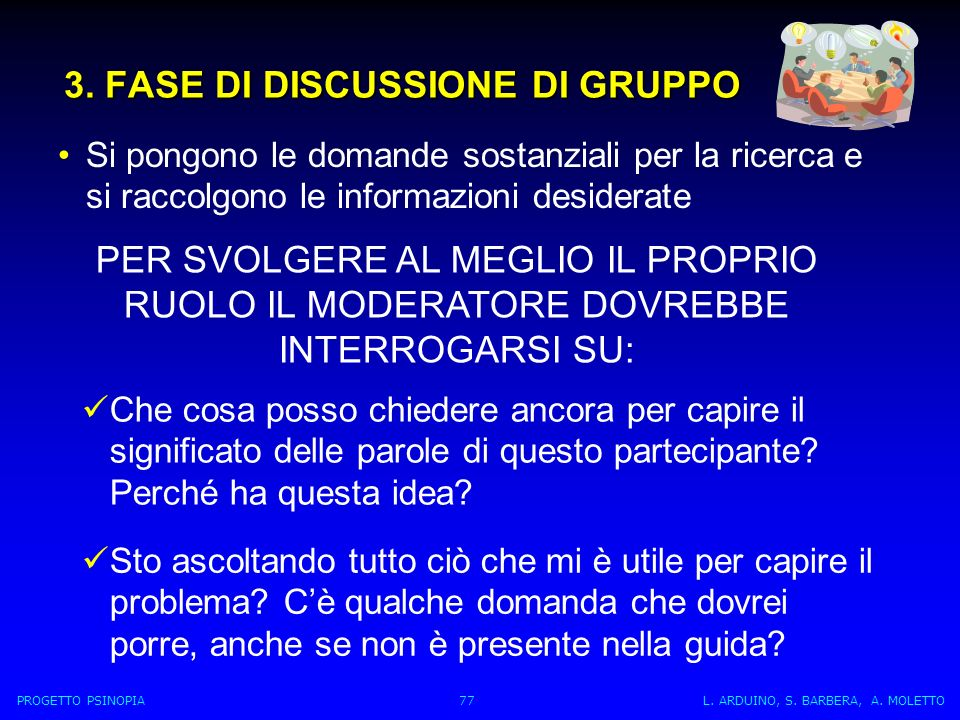 3. FASE DI DISCUSSIONE DI GRUPPO Si pongono le domande sostanziali per la ricerca e si raccolgono le informazioni desiderate PER SVOLGERE AL MEGLIO IL