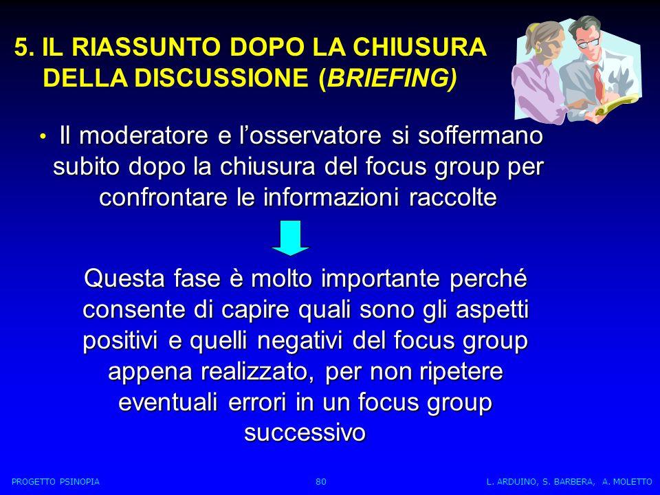 5. IL RIASSUNTO DOPO LA CHIUSURA DELLA DISCUSSIONE (BRIEFING) Il moderatore e losservatore si soffermano subito dopo la chiusura del focus group per c