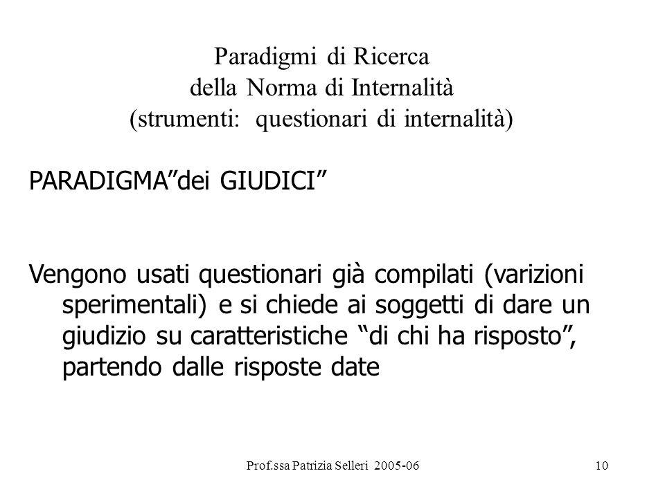 Prof.ssa Patrizia Selleri 2005-0610 Paradigmi di Ricerca della Norma di Internalità (strumenti: questionari di internalità) PARADIGMAdei GIUDICI Vengo