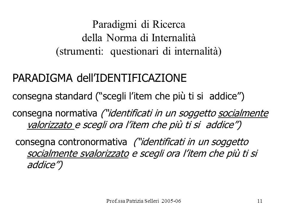 Prof.ssa Patrizia Selleri 2005-0611 Paradigmi di Ricerca della Norma di Internalità (strumenti: questionari di internalità) PARADIGMA dellIDENTIFICAZI