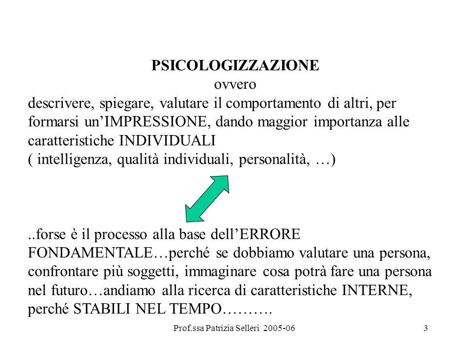 Prof.ssa Patrizia Selleri 2005-063 PSICOLOGIZZAZIONE ovvero descrivere, spiegare, valutare il comportamento di altri, per formarsi unIMPRESSIONE, dand