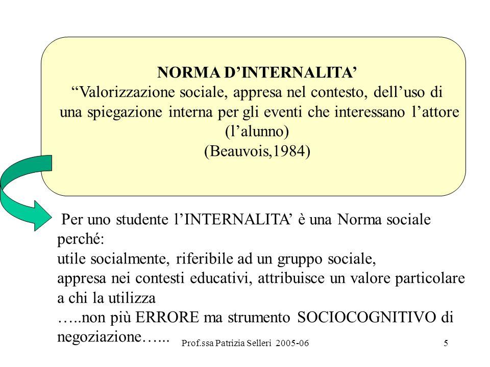 5 NORMA DINTERNALITA Valorizzazione sociale, appresa nel contesto, delluso di una spiegazione interna per gli eventi che interessano lattore (lalunno)