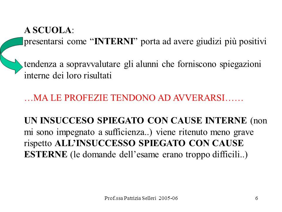 Prof.ssa Patrizia Selleri 2005-066 A SCUOLA: presentarsi come INTERNI porta ad avere giudizi più positivi tendenza a sopravvalutare gli alunni che for