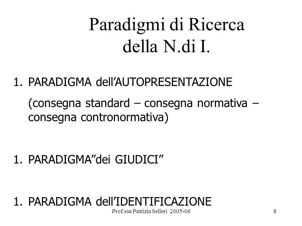 Prof.ssa Patrizia Selleri 2005-068 Paradigmi di Ricerca della N.di I. 1.PARADIGMA dellAUTOPRESENTAZIONE (consegna standard – consegna normativa – cons