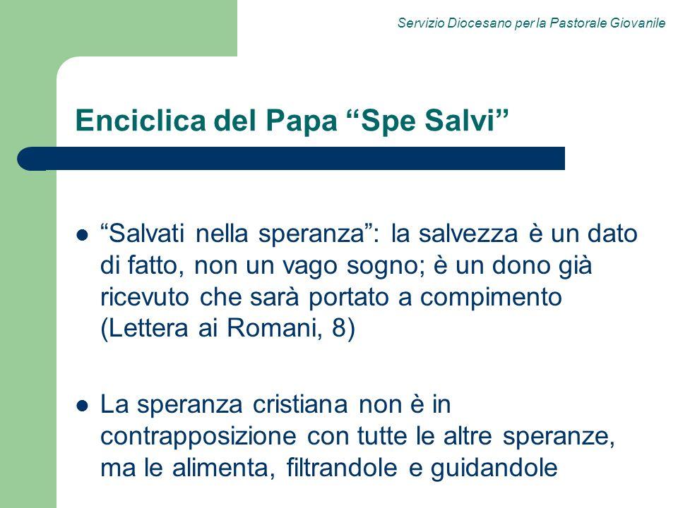 Servizio Diocesano per la Pastorale Giovanile Enciclica del Papa Spe Salvi Salvati nella speranza: la salvezza è un dato di fatto, non un vago sogno;