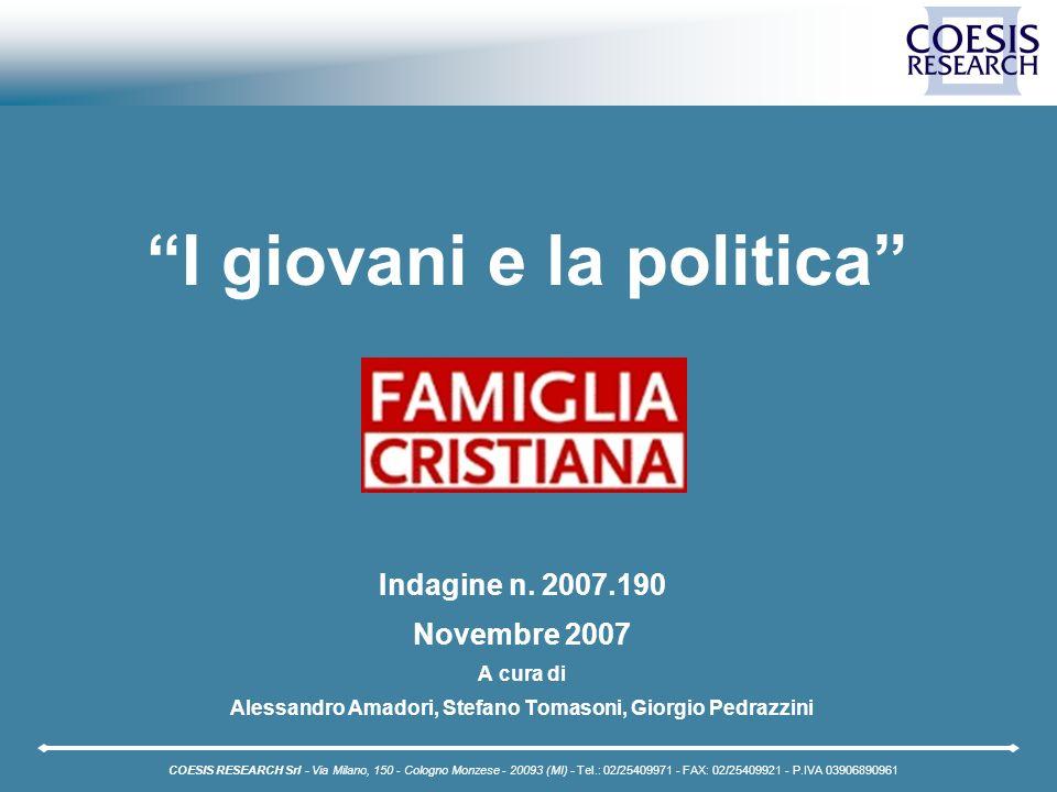2 Coesis Research - C 2007.190 Famiglia Cristiana - I giovani e la politica Indice Pag.