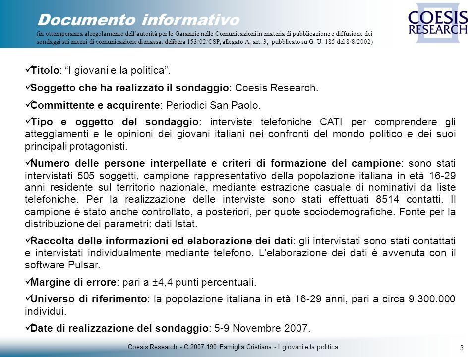 4 Coesis Research - C 2007.190 Famiglia Cristiana - I giovani e la politica IL CAMPIONE
