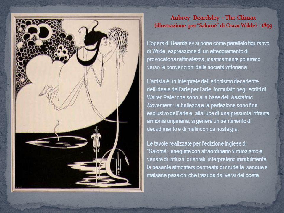 Lopera di Beardsley si pone come parallelo figurativo di Wilde, espressione di un atteggiamento di provocatoria raffinatezza, icasticamente polemico v