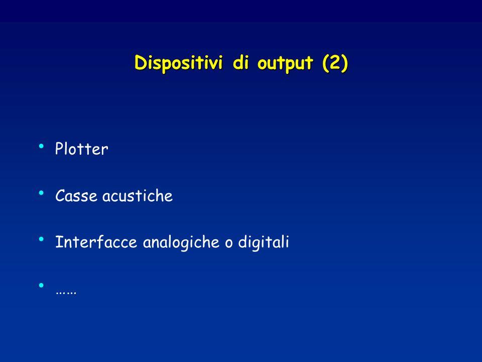 Dispositivi di output (2) Plotter Casse acustiche Interfacce analogiche o digitali ……