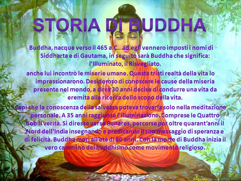 Buddha, nacque verso il 465 a.C.. ad egli vennero imposti i nomi di Siddharta e di Gautama, in seguito sarà Buddha che significa: lIlluminato, il Risv