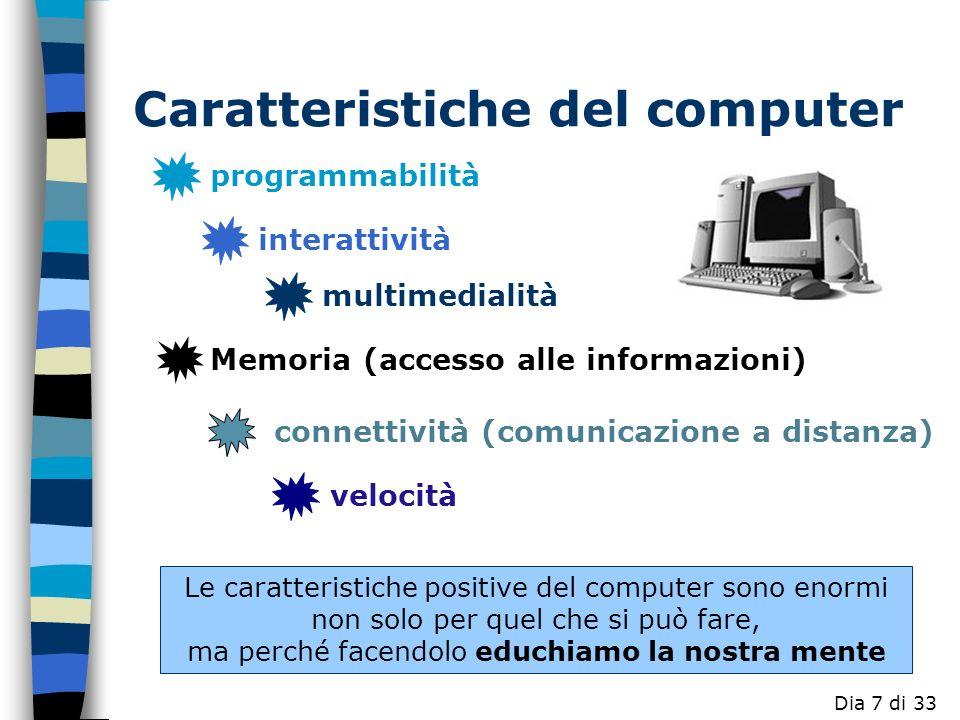 programmabilità interattività connettività (comunicazione a distanza) multimedialità Memoria (accesso alle informazioni) Le caratteristiche positive del computer sono enormi non solo per quel che si può fare, ma perché facendolo educhiamo la nostra mente velocità Caratteristiche del computer Dia 7 di 33