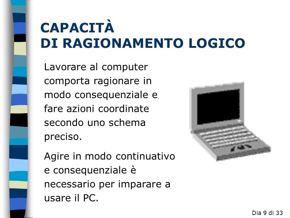 Lavorare al computer comporta ragionare in modo consequenziale e fare azioni coordinate secondo uno schema preciso.