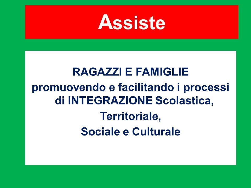 A ssiste RAGAZZI E FAMIGLIE promuovendo e facilitando i processi di INTEGRAZIONE Scolastica, Territoriale, Sociale e Culturale