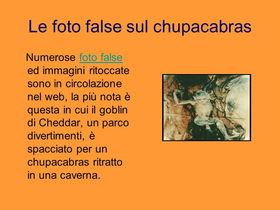 Le foto false sul chupacabras Numerose foto false ed immagini ritoccate sono in circolazione nel web, la più nota è questa in cui il goblin di Cheddar