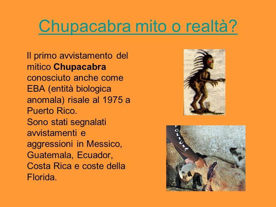 Le foto false sul chupacabras Numerose foto false ed immagini ritoccate sono in circolazione nel web, la più nota è questa in cui il goblin di Cheddar, un parco divertimenti, è spacciato per un chupacabras ritratto in una caverna.foto false