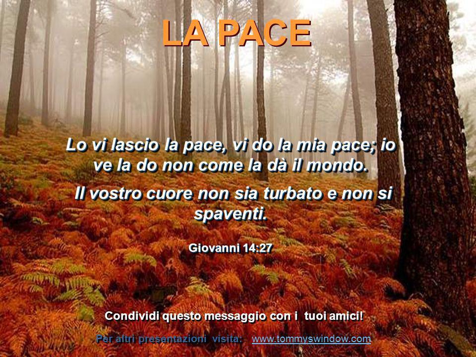 La pace non si fa nelle sale comunali, o con i trattati, ma nel cuore degli uomini.