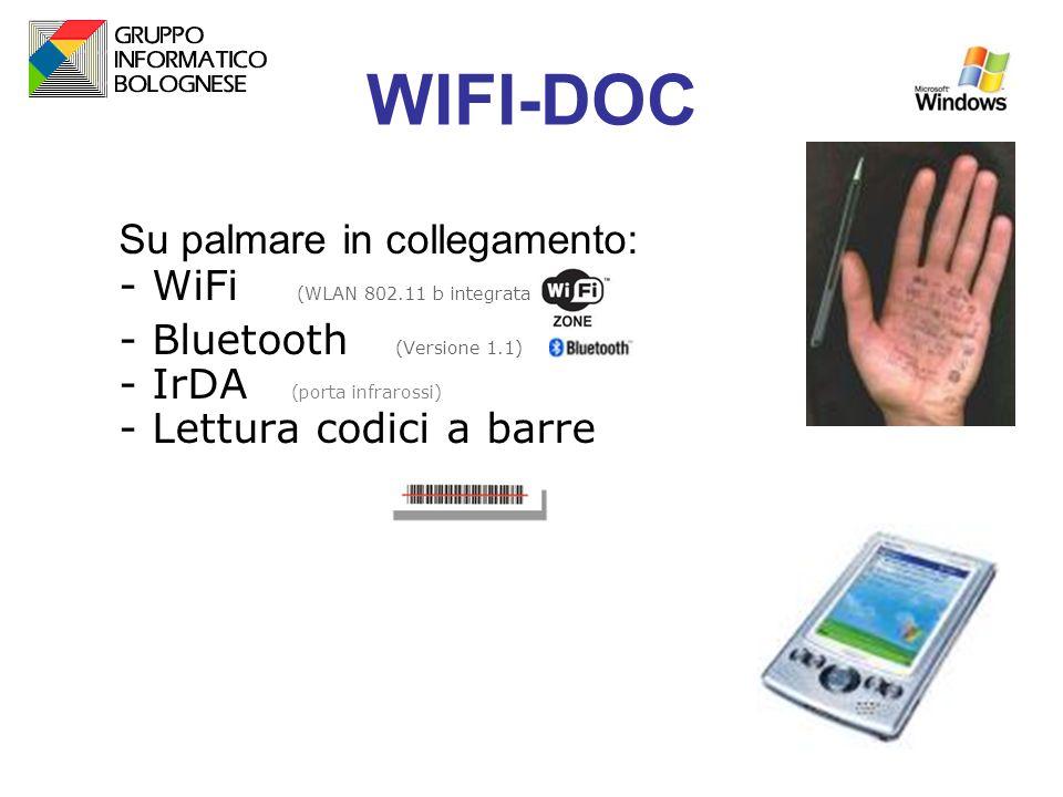 WIFI-DOC Su palmare in collegamento: - WiFi (WLAN 802.11 b integrata) - Bluetooth (Versione 1.1) - IrDA (porta infrarossi) - Lettura codici a barre