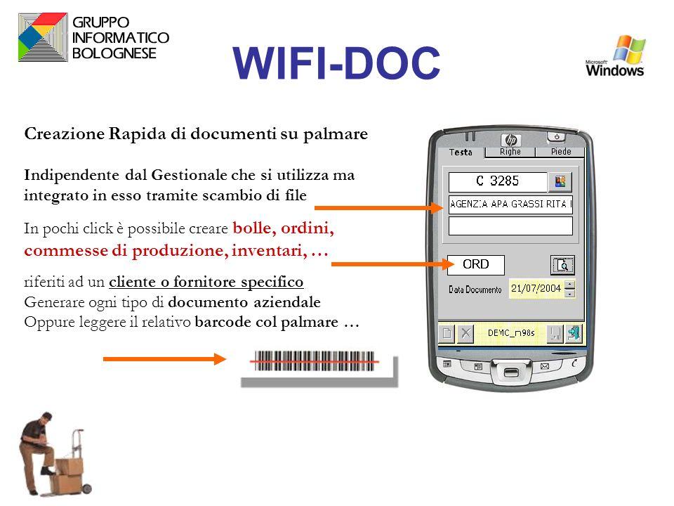 WIFI-DOC Creazione Rapida di documenti su palmare Indipendente dal Gestionale che si utilizza ma integrato in esso tramite scambio di file In pochi cl