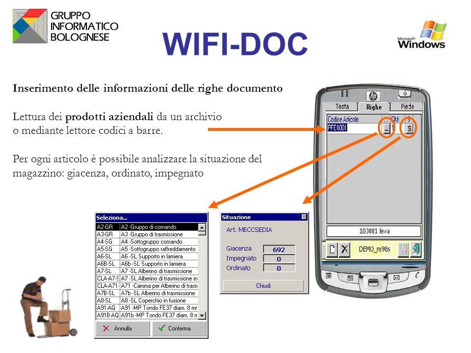 WIFI-DOC Inserimento delle informazioni delle righe documento Lettura dei prodotti aziendali da un archivio o mediante lettore codici a barre. Per ogn