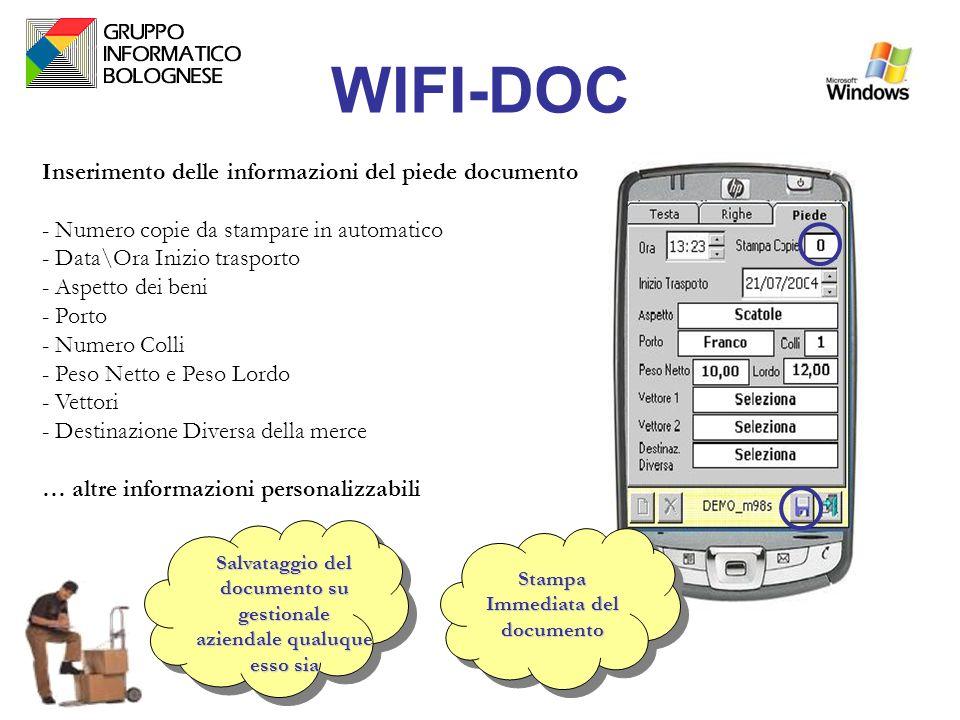 WIFI-DOC Inserimento delle informazioni del piede documento - Numero copie da stampare in automatico - Data\Ora Inizio trasporto - Aspetto dei beni -