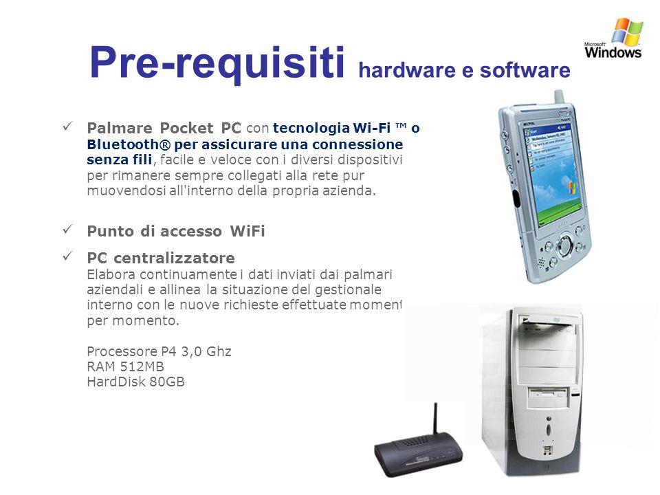 Pre-requisiti hardware e software Palmare Pocket PC con tecnologia Wi-Fi o Bluetooth® per assicurare una connessione senza fili, facile e veloce con i diversi dispositivi per rimanere sempre collegati alla rete pur muovendosi all interno della propria azienda.