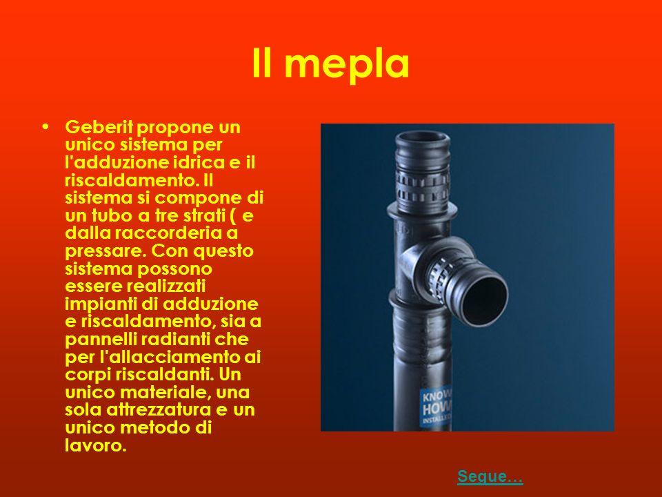 Il mepla Geberit propone un unico sistema per l'adduzione idrica e il riscaldamento. Il sistema si compone di un tubo a tre strati ( e dalla raccorder