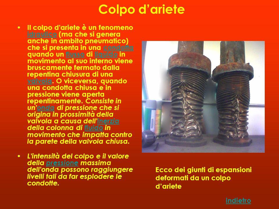 Il colpo d'ariete è un fenomeno idraulico (ma che si genera anche in ambito pneumatico) che si presenta in una condotta quando un flusso di liquido in