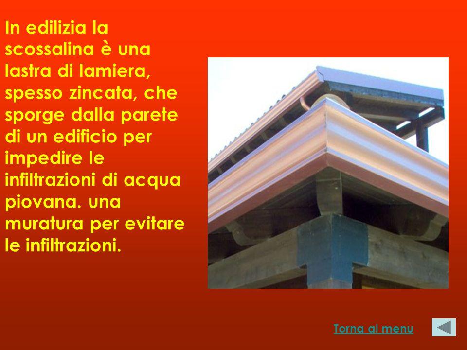 In edilizia la scossalina è una lastra di lamiera, spesso zincata, che sporge dalla parete di un edificio per impedire le infiltrazioni di acqua piovana.