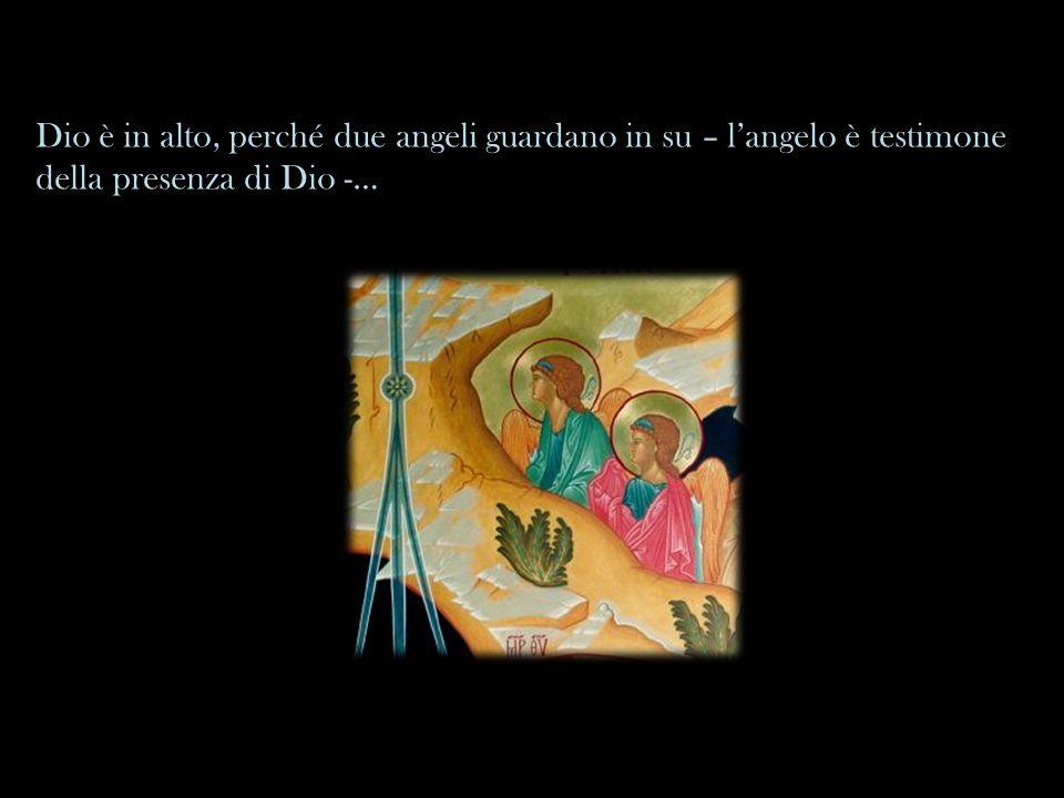… ma cè anche un angelo che ha lo sguardo rivolto verso i pastori e comunica loro che è inutile sforzarsi per salire sul monte.