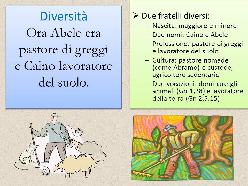 Diversità Ora Abele era pastore di greggi e Caino lavoratore del suolo. Due fratelli diversi: – Nascita: maggiore e minore – Due nomi: Caino e Abele –